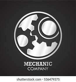 3d silver gears negative shape logo