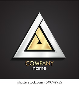 3d silver gold abstract linear shape triangle logo