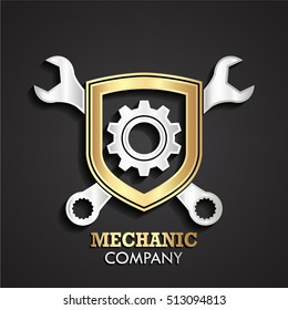 3d silver gold mechanic theme logo with shield gear and wrench