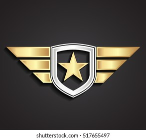 3d silver gold military star and shield with wings