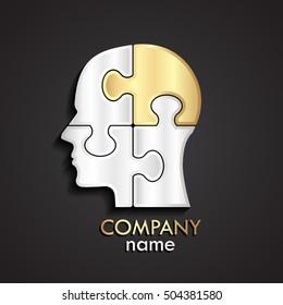 3d silver gold puzzle human head logo