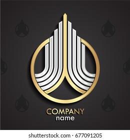 3d silver golden linear growth logo