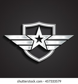 3d silver military star symbol with shield / vector illustration