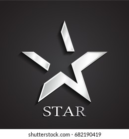 3d silver negative shape star symbol