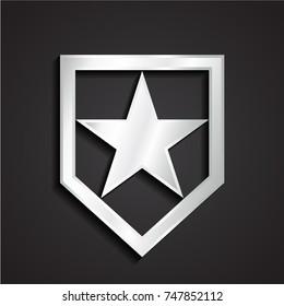 3d silver shiny metal simple shape geometric shield with star