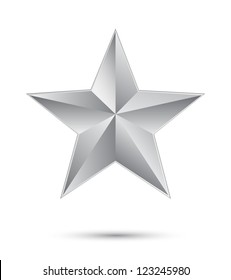3D silver star on white