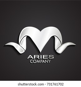 3d silver stylized aries horn logo