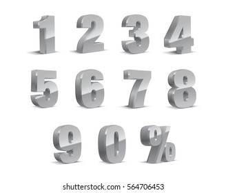 3D Silver-Grey Metallic Letter. 0, 1, 2, 3, 4, 5, 6, 7, 8, 9 numeral alphabet. Vector Isolated Number.