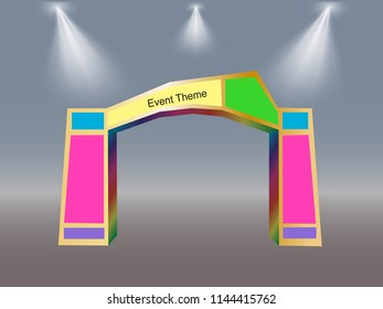 3 D Simple Gate Spotlight Space Event Stock Vector Royalty Free