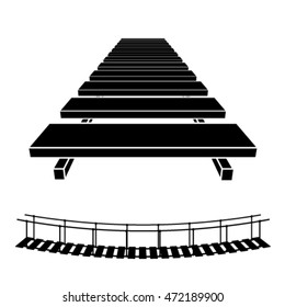 3D simple wooden bridge black symbol vector