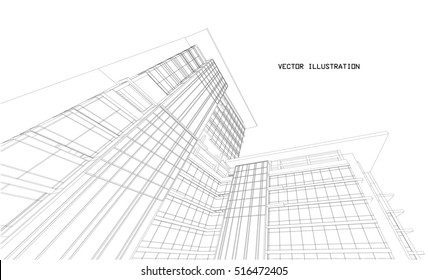 3D sketch of Modern building.