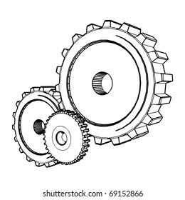 3d sketch of three gears - vector