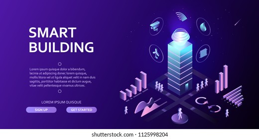 3D smart building Infographics Isometric concept Automation control system of intelligent building Engineering systems, safety Abstract 3d city environment with new technologies