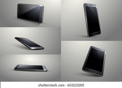 3D Smart phone. Black colour, Different angle.