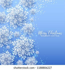 3d snowflake Winter blue Background with white paper cut origami Snowflakes  Merry Christmas and Happy New Year Invitation or greeting card Vector holiday template xmas
