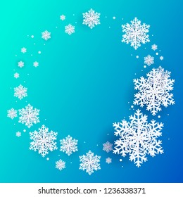 3D snowflakes on blue background, circle vector
