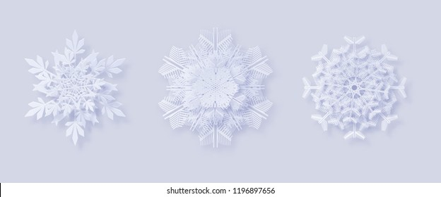 3D snowflakes with a shadow for your design of greeting cards New Year and Christmas. Origami snowflakes. New year and Christmas design elements.