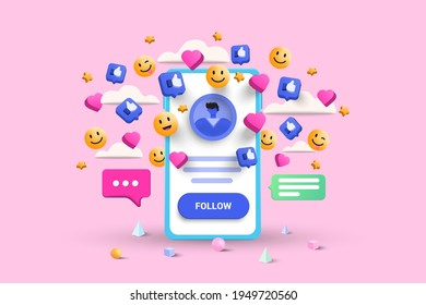 3D Social media platform, online social communication applications concept, emoji, hearts, chat and chart with smartphone background. 3d Vector illustration