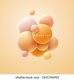 3d soft orange spheres cluster. Abstract background. Vector illustration of soft bubbles textured with wavy striped pattern. Banner or sign design