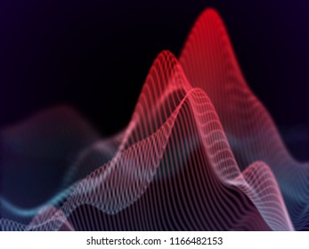 3D Sound waves. Big data abstract visualization: business charts analytics. Digital surface with flowing curves. Futuristic technology background. Red sound waves, EPS 10 vector illustration.