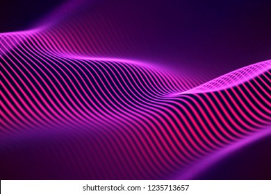 3D Sound waves. Big data abstract visualization. Digital technology concept: virtual landscape. Futuristic background. Red sound waves, visual audio waves equalizer, EPS 10 vector illustration.