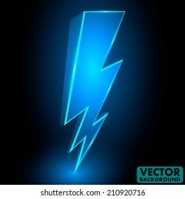 3D Sparkling Lightning Bolt Abstract Vector Background Illustration