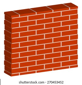 3D, spatial brick wall, brickwork with regular pattern isolated on white. Editable vector