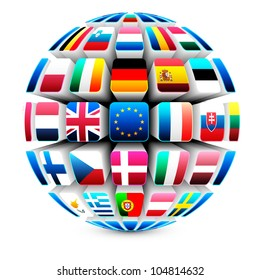 International flags globe images stock photos vectors shutterstock 3d sphere with 27 european union flags vector freerunsca Image collections