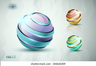 3D sphere icons with stripes EPS 10