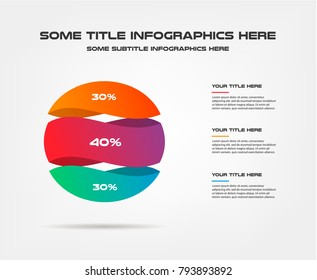 3d sphere, percentage infographics. Element of chart, graph, diagram with 3 options - parts, processes, timeline. Vector business template for presentation, workflow layout, annual report, web