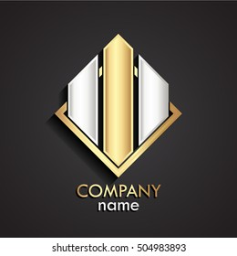 3d square gold silver modern logo template