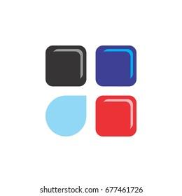 3d square logo with blue drop logo