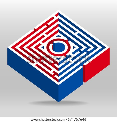 3 D Square Maze Puzzle Vector Background Stock Vector Royalty Free