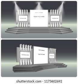 3d stage exhibition with 2 screen and backdrop spotlight. Vector editable.