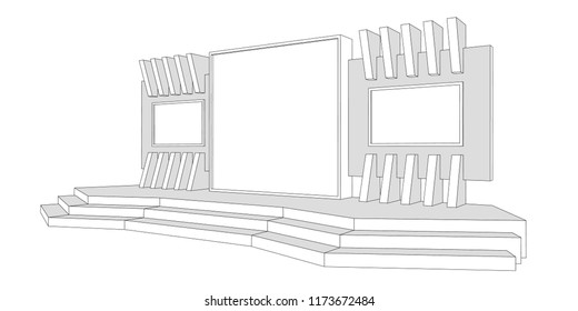 3d stage exhibition backdrop led screen plasma TV. Vector sketch outline drawing editable.
