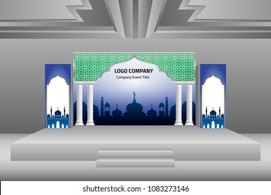 3d stage exhibition ramadan style. Vector editable.