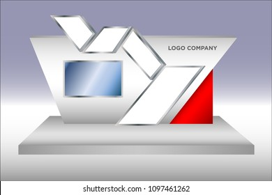 3d stage exhibition with TV LED screen modern simple style and space for logo company. Vector editable