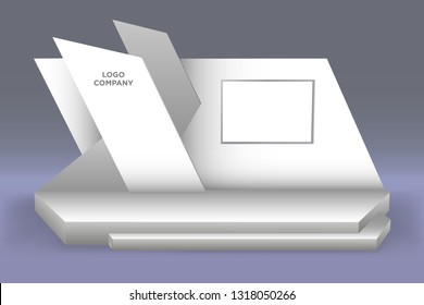3d stage performance presentation exhibition with blank LED backdrop screen and space for logo company. Vector editable isolated.