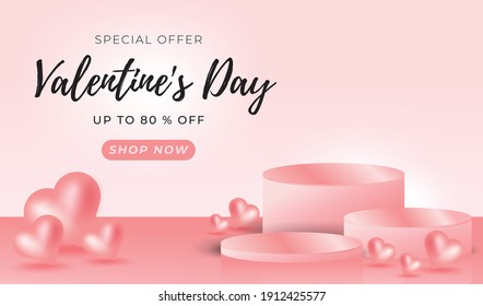 3D stage Valentine background with Sale Offer text. Pink 3 Podium 3d vector illustration editable. to show product on pedestal studio. -3D Vector Illustration