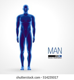 3d standing man, full length, blue colored. Polygonal vector illustration . Front view