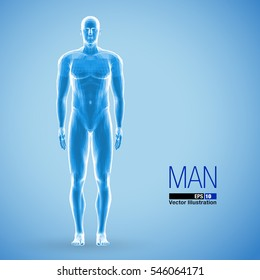 3d standing man, full length, blue colored. Front view. Polygonal vector illustration