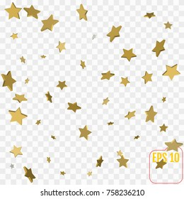 3d Star Falling Print. Gold Yellow Starry on transparent Background. Vector Confetti Star Background Pattern.  Golden Starlit Card. Confetti Fall Chaotic Decor. Modern Creative Pattern.