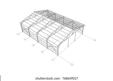 3D steel frame of a industrial building. Vector architectural blueprint.
