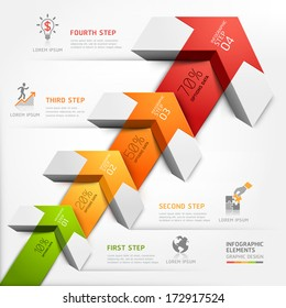 3d step up arrow staircase diagram business. Vector illustration. can be used for workflow layout, banner, number options, step up options, web design, infographics.