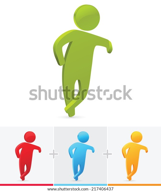 3D Stick figure leaning against a white background with his leg crossed