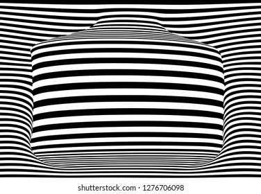 3D striped background with copy space, vector art