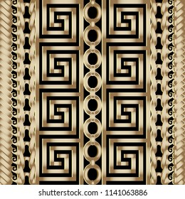 3d striped braided greek vector seamless borders pattern. Ornamental abstract geometric modern background. Textured vintage gold ornament with geometry shapes, stripes,  chain and greek key, meanders