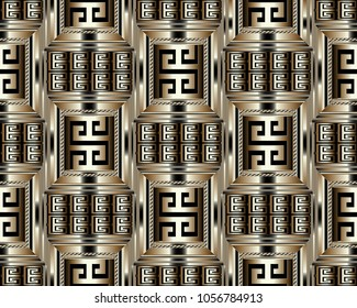 3d striped greek key meander seamless pattern. Vector abstract geometric background. Vintage ancient gold black  greek ornament with stripes, borders,  frames. Surface texture. Design for wallpaper