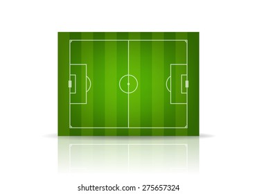 3d striped soccer field, isolated on white. Vector EPS10 illustration.