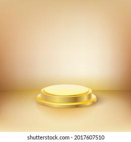 3d studio podium to show product. Golden  pedestal, success, reward sign symbol on yellow background. Illustration vector.
